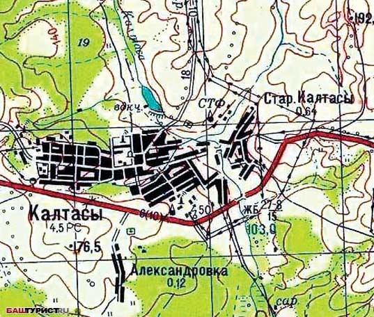 karta-kaltasu Калтасы и Калтасинский район Башкирия Посреди РУ